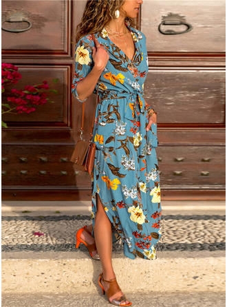 Print/Floral 1/2 Sleeves A-line Casual/Vacation Maxi Dresses
