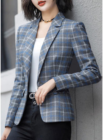 Cotton Blends Long Sleeves Plaid Blazers
