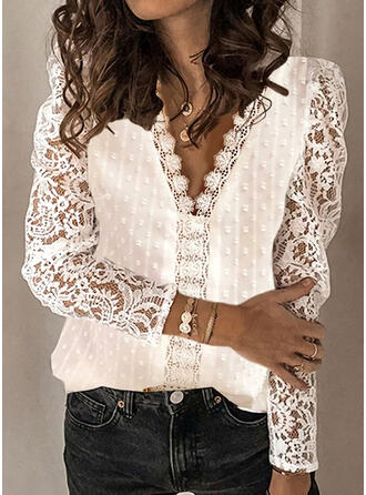Solido Pizzo Scollatura a V Puff Sleeve Maniche lunghe Elegante Camicie