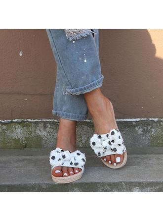 Frauen Stoff Flascher Absatz Sandalen Flache Schuhe Peep Toe mit Bowknot Schuhe
