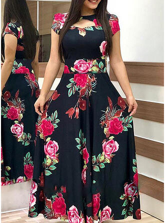 Plus Size Floral Print Short Sleeves A-line Maxi Casual Elegant Dress