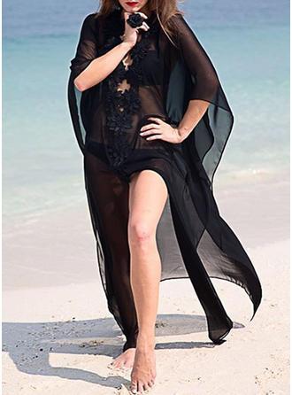 Jednobarevná V-krk Elegantní Přehozy Plavky