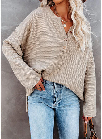 Solid V-Neck Casual Sweaters (1002335635)