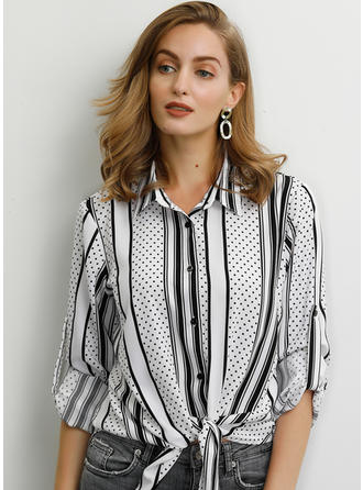 Print Striped PolkaDot Lapel 3/4 Sleeves Button Up Casual Shirt Blouses