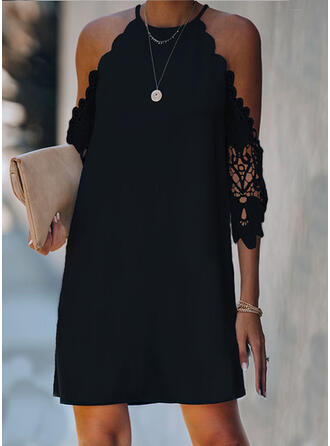 Lace/Solid 3/4 Sleeves/Cold Shoulder Sleeve Shift Above Knee Little Black/Casual Dresses