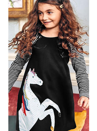 Jenter round Neck Stripe Animal Avslappet Kle
