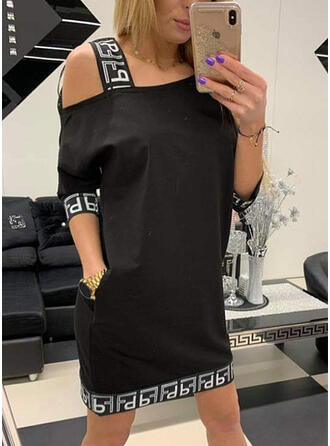 Print/Solid Long Sleeves Shift Above Knee Casual Tunic Dresses