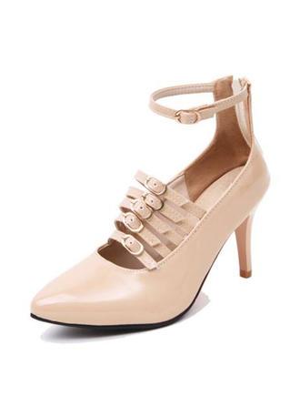 Dla kobiet Skóra Lakierowana Obcas Stiletto Czólenka Platforma Zakryte Palce Z Klamra obuwie
