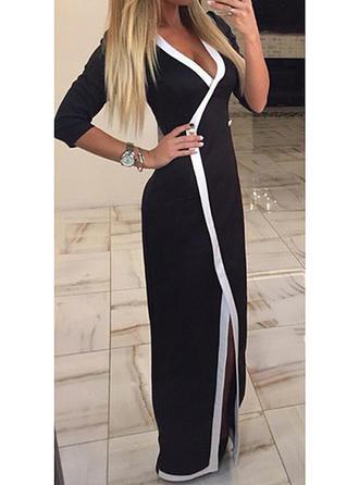 Striped V-neck Maxi Sheath Dress