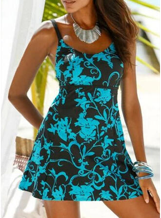 Floral Print Strap U-Neck Elegant Vintage Swimdresses Swimsuits