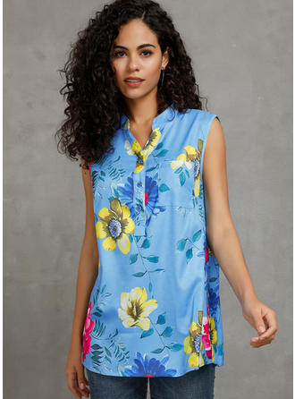 Print Blomster V-hals Ingen ærmer Button-up Casual Tank tops
