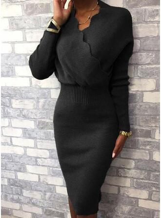 Couleur Unie Manches Longues Moulante Longueur Genou Petites Robes Noires/Élégante Pull/Crayon Robes