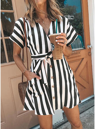Print/Striped Short Sleeves A-line Above Knee Casual Dresses