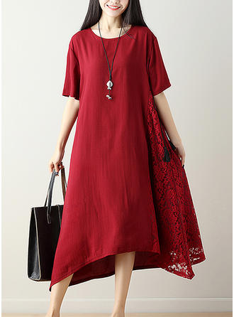 Cotton/Linen With Lace Midi Dress