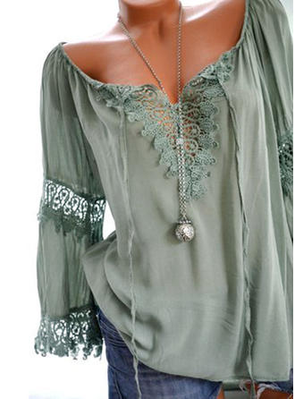 Lace V Neck Long Sleeves Casual Blouses