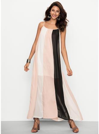 Striped Sleeveless Shift Maxi Casual Dresses