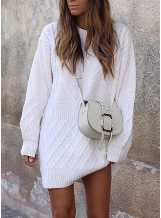 Solid Rund hals Casual Lang Sweaterkjole