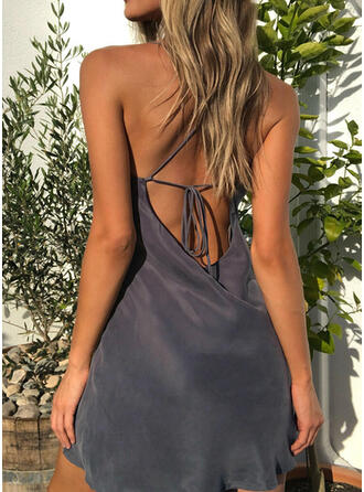 Solid Sleeveless Sheath Above Knee Sexy/Casual/Party/Vacation Dresses