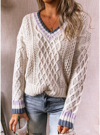 Striped Cable-knit V-Neck Casual Sweaters