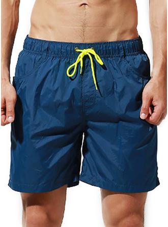 Pour des hommes Couleur unie Cordon de serrage Shorts de bain