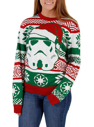 Polyester Round Neck Print Ugly Christmas Sweater