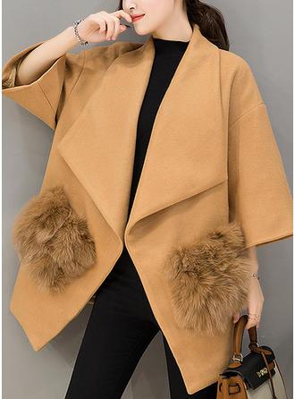 De laine Fausse Fourrure Manches longues Couleur unie Manteaux de Laine