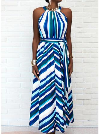Print/Striped Sleeveless A-line Skater Casual Maxi Dresses
