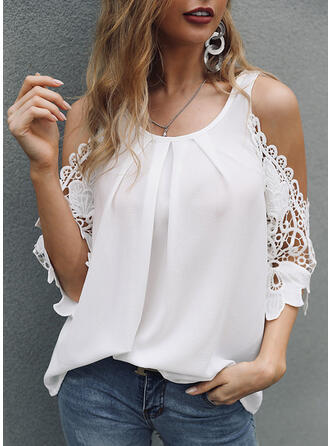 Solide Kant Cold Shoulder 3/4 Mouwen Casual Pailletten Blouses