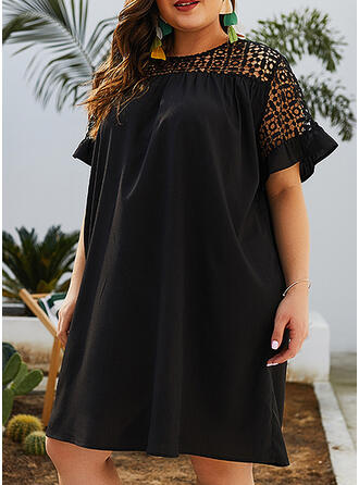 Lace/Solid Short Sleeves Shift Knee Length Little Black/Casual/Vacation/Plus Size Dresses
