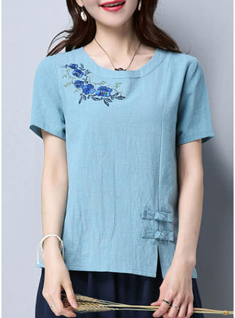 Embroidery Round Neck Short Sleeves Casual Blouses