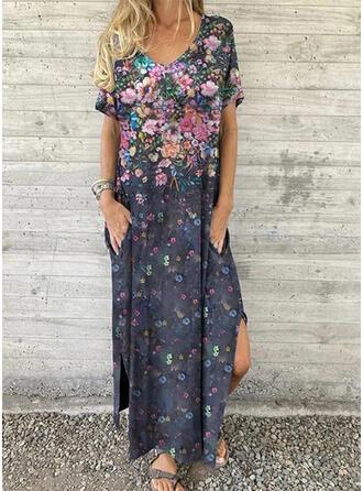 Print/Floral Short Sleeves Shift T-shirt Casual Maxi Dresses