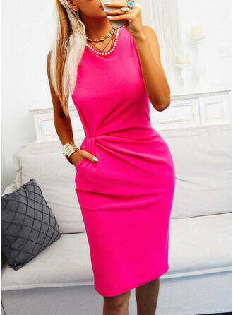 Solid/Beaded Sleeveless Sheath Knee Length Casual Dresses