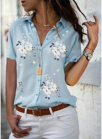 Floral Lapel Short Sleeves Button Up Casual Elegant Shirt Blouses