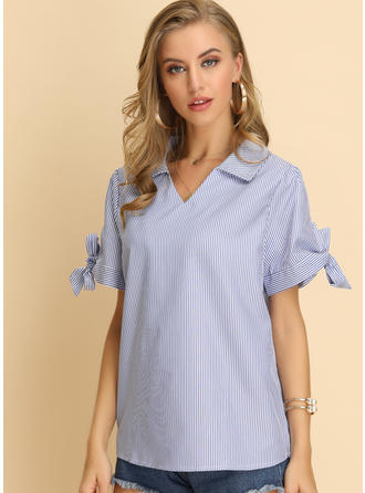 Striped V Neck Short Sleeves Casual Elegant Blouses