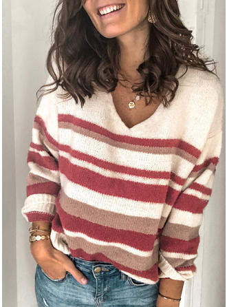 Striped V neck Sweaters