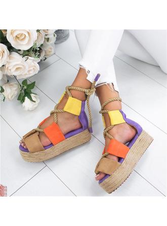De mujer PU Tacón plano Sandalias Planos Encaje con Cordones zapatos