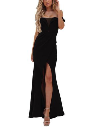 Solid Off-the-Shoulder Maxi Sheath Dress