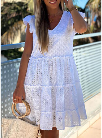 Solid Short Sleeves A-line Above Knee Little Black/Casual/Vacation Dresses
