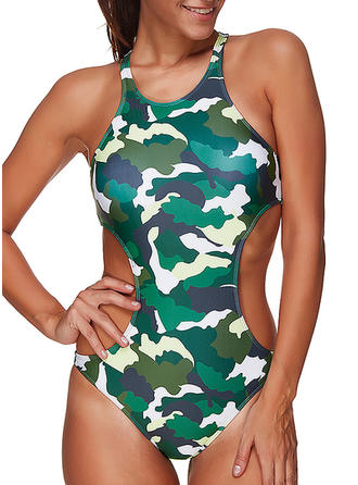 Leopard U Neck Sports One-piece Swimsuits