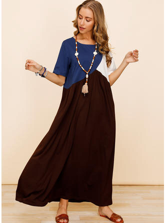 Bloco de Cor Manga Curta Shift Maxi Casual Vestidos