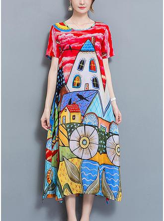 Nadrukowana Krótkie rękawy Koktajlowa Midi Casual/Wakacyjna Sukienki