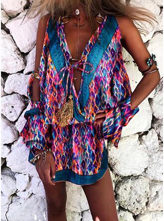 Print Long Sleeves/Cold Shoulder Sleeve Sheath Above Knee Casual/Boho/Vacation Dresses