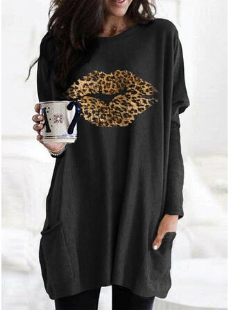 Print Leopard rund hals Lange ærmer Sweatshirts (1001324264)