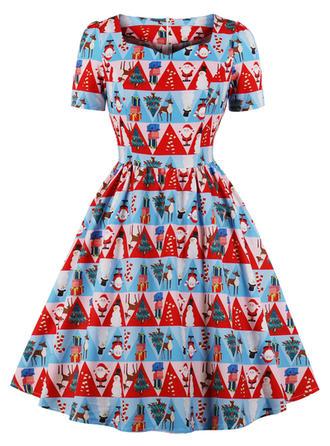 Wydrukować Plac Dekolt Kolano Długość Sukienka Trapezowa