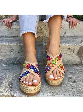Vrouwen Kunstleer Wedge Heel Sandalen Wedges Peep Toe met Kralen Gesp schoenen