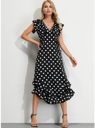 PolkaDot Short Sleeves A-line Midi Party/Elegant Dresses