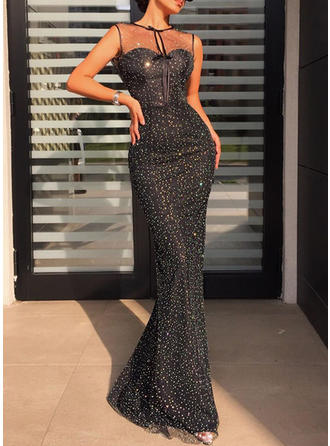 Sequins Sleeveless Sheath Maxi Little Black/Party Dresses