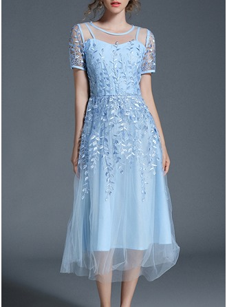 Chiffon With Mesh/Embroidery/See-through Look Maxi Dress