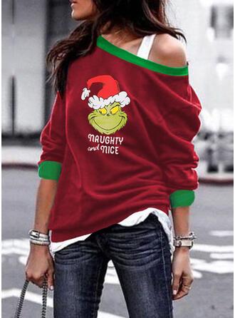 Print Figur One Shoulder Lange ærmer Jule sweatshirt