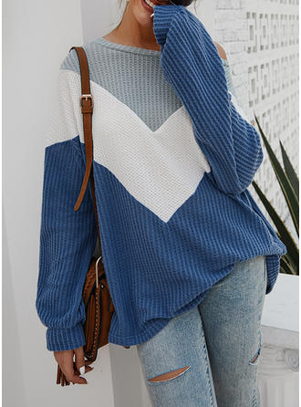 Color Block Waffle Knit One Shoulder Sweaters